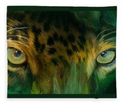 Fleece Blanket featuring the mixed media Wild Eyes - Jaguar by Carol Cavalaris