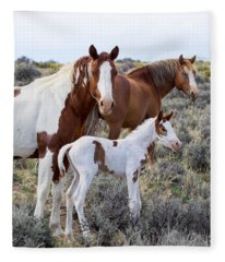 Wild Horse Family Portrait Fleece Blanket