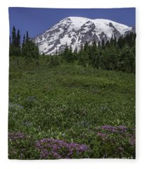Wildflowers And Mt Rainier Summit Fleece Blanket