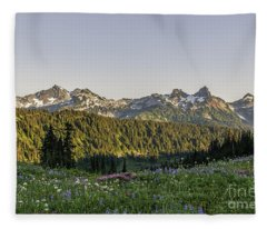 Wildflowers And The Tatoosh Range Fleece Blanket