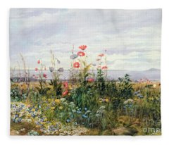 Wildflowers With A View Of Dublin Dunleary Fleece Blanket