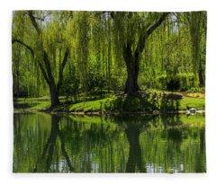 Willows Weep Into Their Reflection  Fleece Blanket