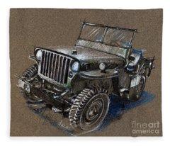 Willys Car Drawing Fleece Blanket