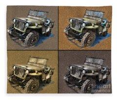 Willys Jeep Mb Car Drawing Fleece Blanket