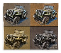 Willys Jeep Mb Car Drawing Fleece Blanket