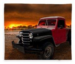 Willys Jeep Pickup Rat Rod Fleece Blanket