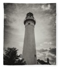 Wind Point Lighthouse Silhouette In Black And White Fleece Blanket