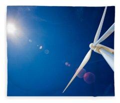 Wind Turbine And Sun  Fleece Blanket