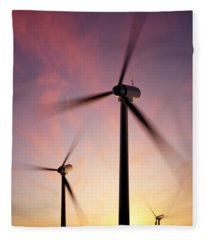 Wind Turbine Blades Spinning At Sunset Fleece Blanket