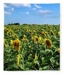 Windblown Sunflowers Fleece Blanket