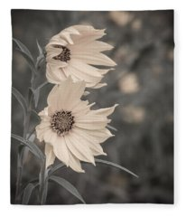 Windblown Wild Sunflowers Fleece Blanket