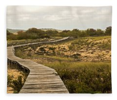 Fleece Blanket featuring the photograph Winding Path Over The Marshes by Nancy De Flon