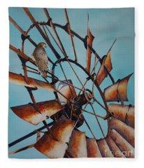 Windmill And Hawk Fleece Blanket