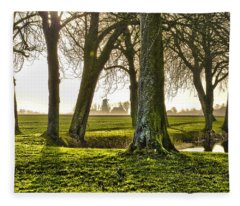 Windmill And Trees In Groningen Fleece Blanket