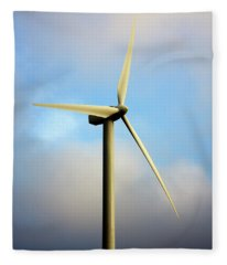 Windmill Dark Blue Sky Fleece Blanket
