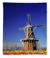 Windmill In A Tulip Field, De Zwaan Fleece Blanket