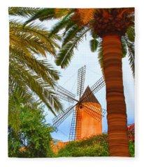 Windmill In Palma De Mallorca Fleece Blanket