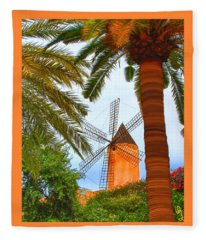 Windmill In Palma De Mallorca Fleece Blanket