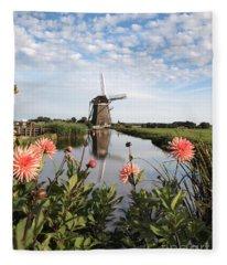 Windmill Landscape In Holland Fleece Blanket