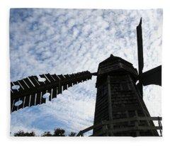 Windmill On A Cloudy Day Fleece Blanket