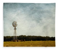 Windmill On The Farm Fleece Blanket