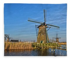 Windmills And Bridge Near Kinderdijk Fleece Blanket