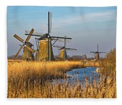 Windmills And Reeds Near Kinderdijk Fleece Blanket