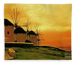 Windmills Of Mykonos Fleece Blanket
