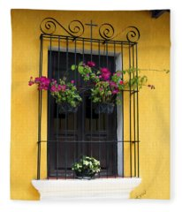 Window At Old Antigua Guatemala Fleece Blanket
