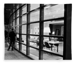 Window Shopping In The Dark Fleece Blanket