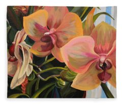 Windowsill Orchids Fleece Blanket