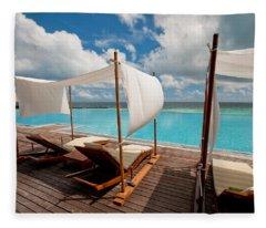 Windy Day At Maldives Fleece Blanket