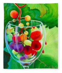 Fleece Blanket featuring the painting Wine On The Vine IIi by Sandi Whetzel