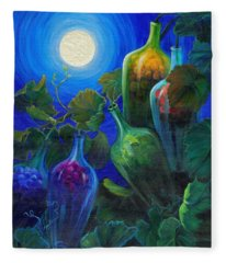 Fleece Blanket featuring the painting Wine On The Vine by Sandi Whetzel
