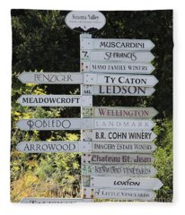 Winery Street Sign In The Sonoma California Wine Country 5d24601 Square Fleece Blanket