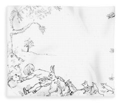 Winnie The Pooh And Crew In Pen  And Ink After E H Shepard Fleece Blanket