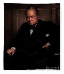 Winston Churchill Fleece Blanket