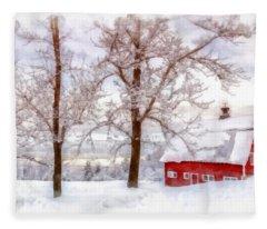 Winter Arrives Watercolor Fleece Blanket