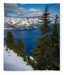 Winter At Crater Lake Fleece Blanket