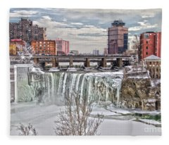 Winter At High Falls Fleece Blanket
