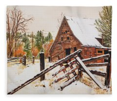 Winter - Barn - Snow In Nevada Fleece Blanket