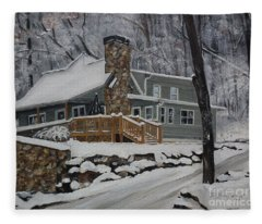 Winter - Cabin - In The Woods Fleece Blanket