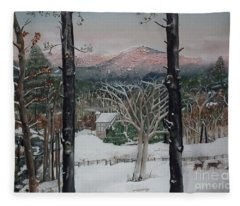 Winter - Cabin - Pink Knob Fleece Blanket