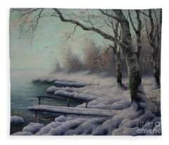 Winter Coming On The Riverside Fleece Blanket