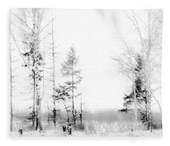 Winter Drawing Fleece Blanket