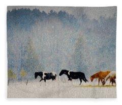 Winter Horses Fleece Blanket