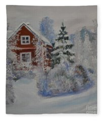 Winter In Finland Fleece Blanket