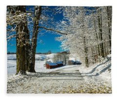 Winter In Vermont Fleece Blanket