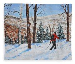 Winter In Vermont Woods Fleece Blanket