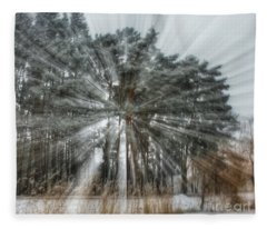 Winter Light In A Forest Fleece Blanket